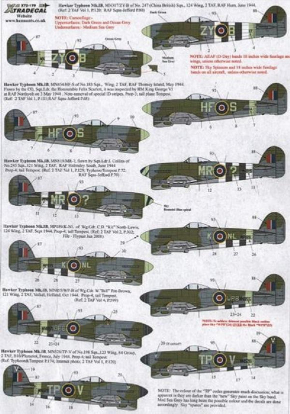 Xtradecal X72179 1/72 Hawker Typhoon Mk.IB Model Decals - SGS Model Store