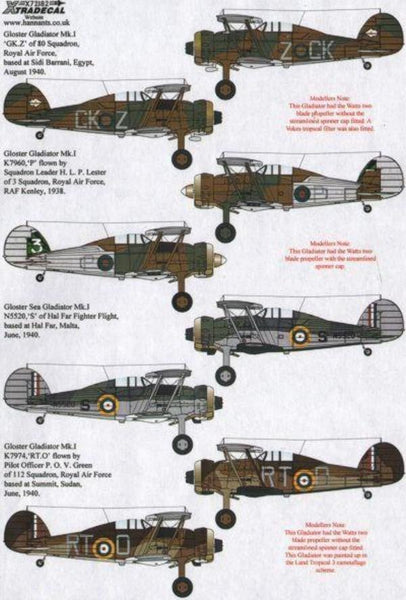 Xtradecal X72183 1/72 Gloster Gladiator Mk.I/J.8A Model Decals - SGS Model Store