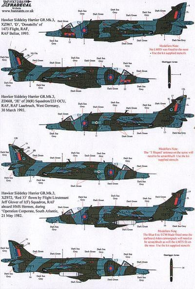 Xtradecal X72186 1/72 BAe Harrier GR.3 Model Decals - SGS Model Store