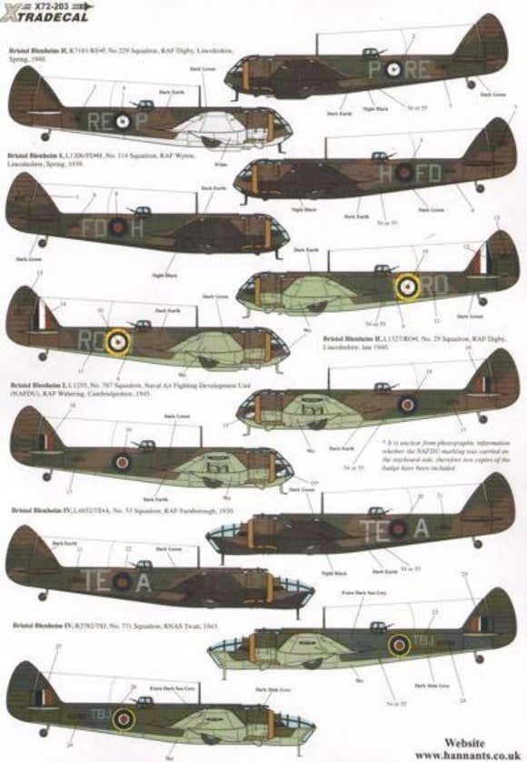 Xtradecal X72203 1/72 Bristol Blenheim Mk.I/Mk.IF/Mk.IV Pt.2 Model Decals - SGS Model Store