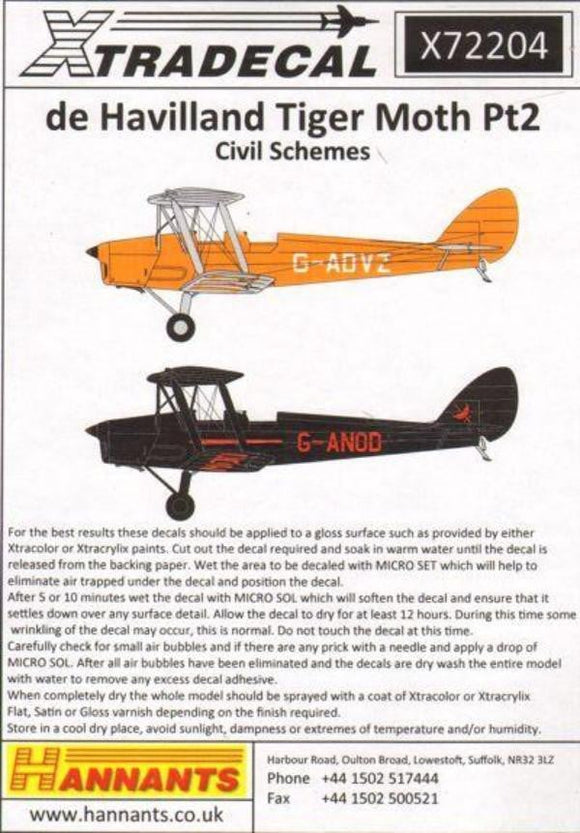 Xtradecal X72204 1/72 de Havilland DH.82A Tiger Moth Pt 2 Model Decals - SGS Model Store