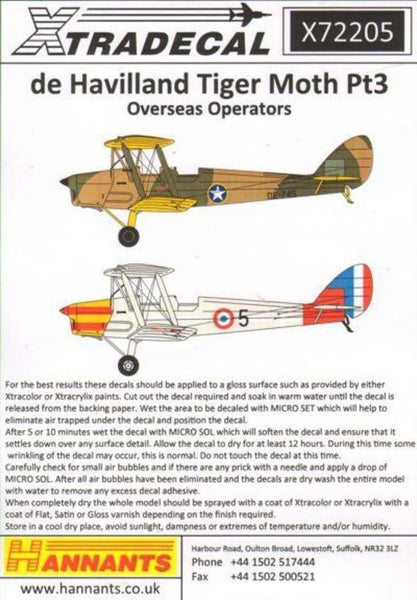 Xtradecal X72205 1/72 de Havilland DH.82A Tiger Moth Pt 3 Model Decals - SGS Model Store