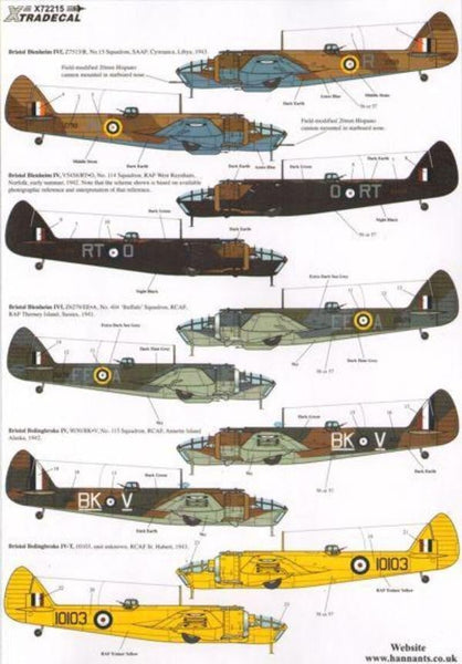 Xtradecal X72215 1/72 Bristol Blenheim and Bolingbroke Model Decals - SGS Model Store