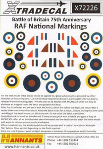 Xtradecal X72226 1/72 Battle of Britain RAF National Markings Model Decals