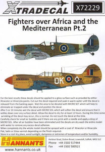 Xtradecal X72229 1/72 Fighters Over Africa and Mediterranean Pt.2 Model Decals - SGS Model Store