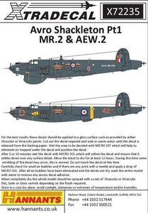 Xtradecal X72235 1/72 Avro Shackleton MR.2/AEW.2 Pt 1 Model Decals - SGS Model Store