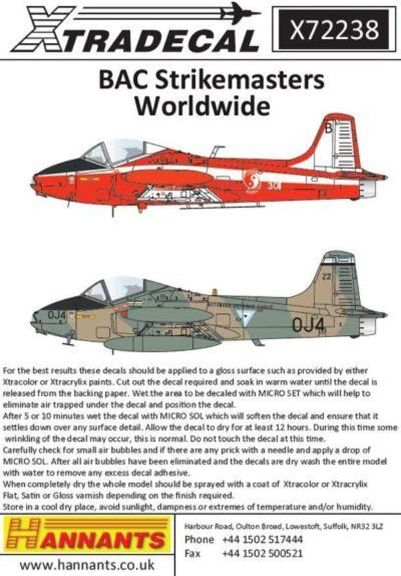 Xtradecal X72238 1/72 BAC Strikemasters Worldwide Model Decals - SGS Model Store