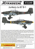Xtradecal X72249 1/72 Junkers Ju 87 B-1 Model Decals - SGS Model Store