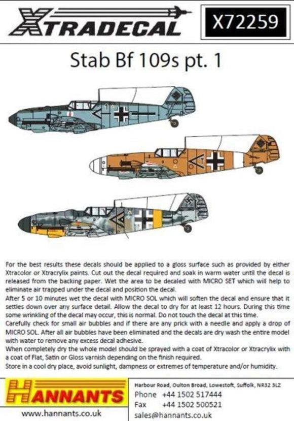 Xtradecal X72259 1/72 Stab Messerschmitt Bf-109s Pt 1 Model Decals