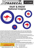 Xtradecal X72260 1/72 RAAF & RNZAF National Insignia Model Decals - SGS Model Store
