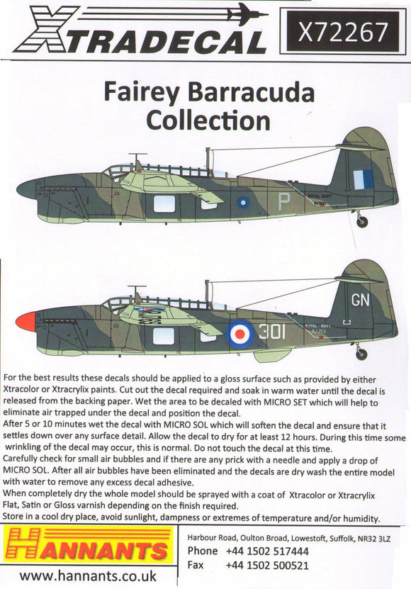 Xtradecal X72267 1/72 Fairey Barracuda Collection Model Decals - SGS Model Store