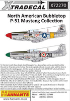 Xtradecal X72270 1/72 North American Bubbletop P-51 Mustang  Model Decals - SGS Model Store