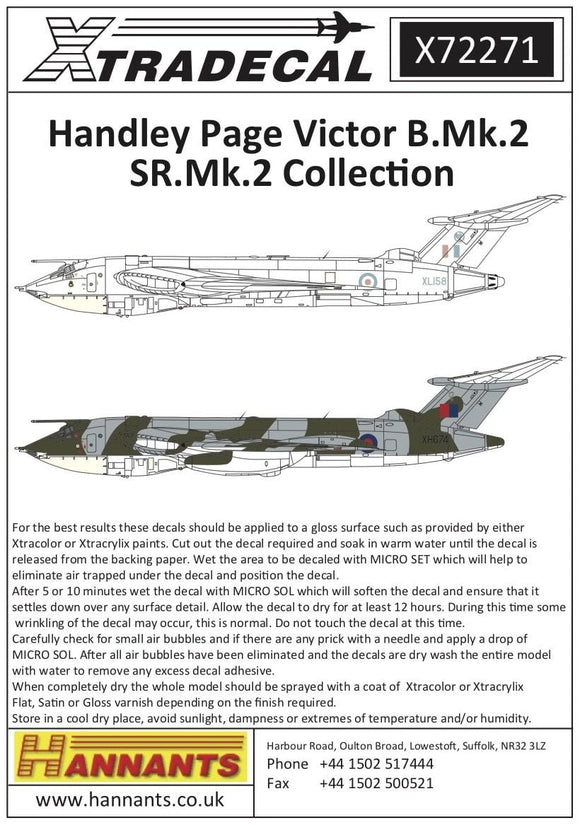 Xtradecal X72271 1/72 Handley-Page Victor B.2 Collection Model Decals - SGS Model Store