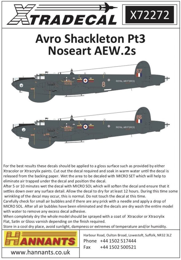 Xtradecal X72272 1/72 Avro Shackleton Pt3 Nose Art AEW.2 Model Decals - SGS Model Store