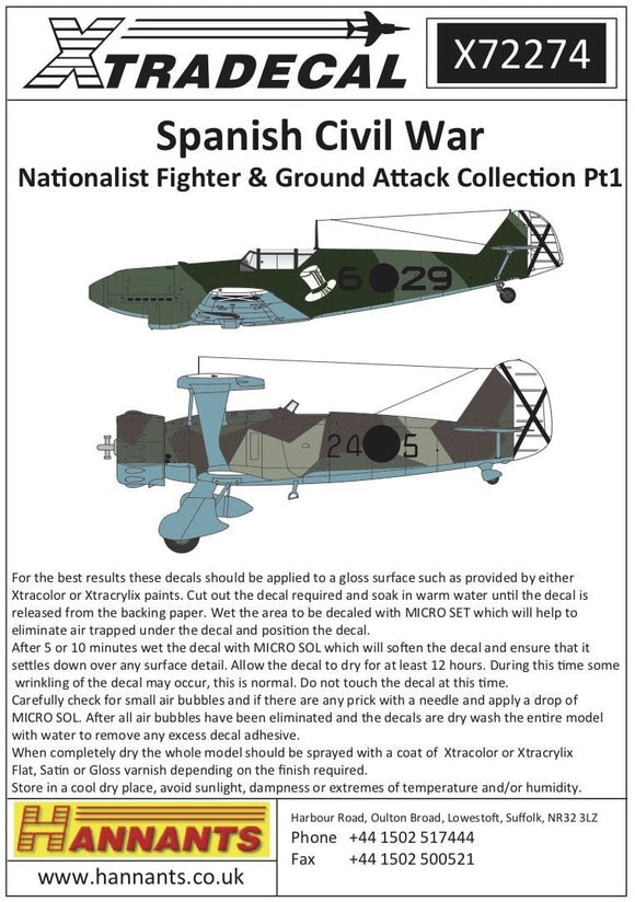 Xtradecal X72274 1/72 Spanish Civil War Condor Legion Pt 1 Model Decals - SGS Model Store