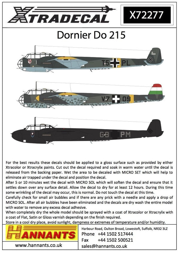 Xtradecal X72277 1/72 Dornier Do-215 Model Decals - SGS Model Store