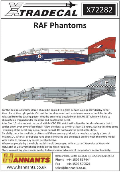 Xtradecal X72282 1/72 McDonnell-Douglas Phantom FG.1 in RAF service Model Decals - SGS Model Store