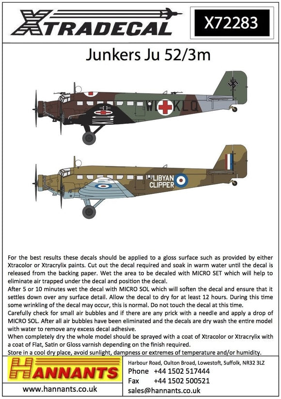 Xtradecal X72283 1/72 Junkers Ju-52/3m Model Decals