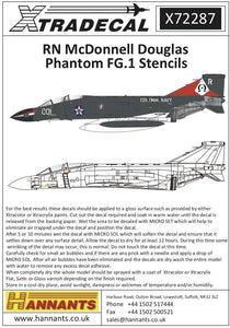 Xtradecal X72287 1/72 Royal Navy Phantom FG.1 Stencils Model Decals - SGS Model Store