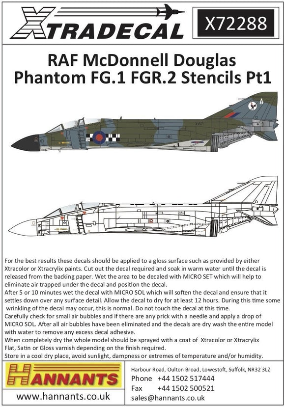 Xtradecal X72288 1/72 RAF Phantom FG.1/FGR.2 Stencils Model Decals
