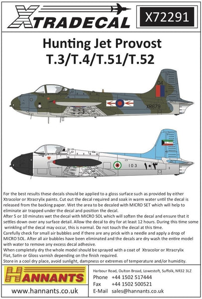 Xtradecal X72291 1/72 Hunting Jet Provost T.3/T.3a/T4/T51/T52 Model Decals - SGS Model Store