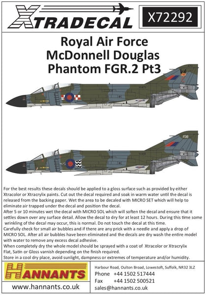 Xtradecal X72292 1/72 RAF FGR.2 Phantom Pt.3 Model Decals - SGS Model Store