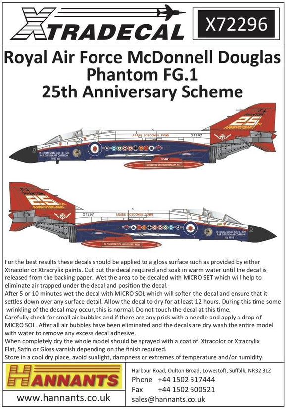 Xtradecal X72296 1/72 RAF FG.1 Phantom Pt 7 25th Anniversary Scheme Model Decals - SGS Model Store