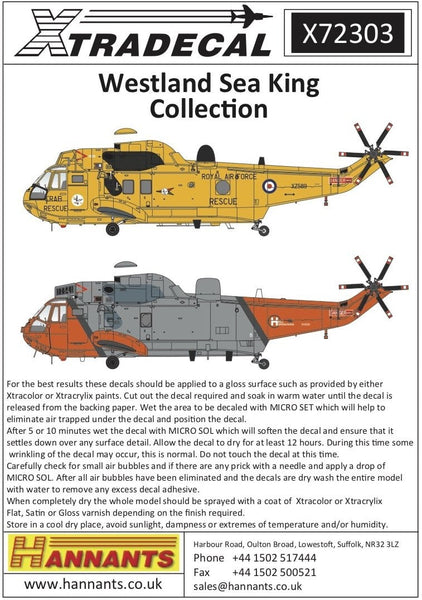 Xtradecal X72303 1/72 Westland Sea King Collection Model Decals - SGS Model Store