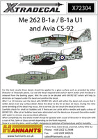 Xtradecal X72304 1/72 Messerschmitt Me-262 Model Decals - SGS Model Store