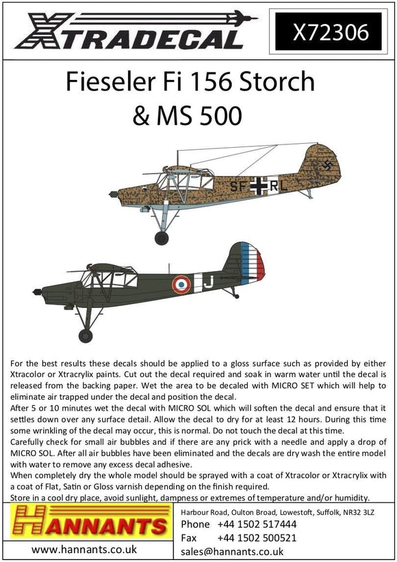 Xtradecal X72306 1/72 Fieseler Fi-156C-3 Storch Model Decals