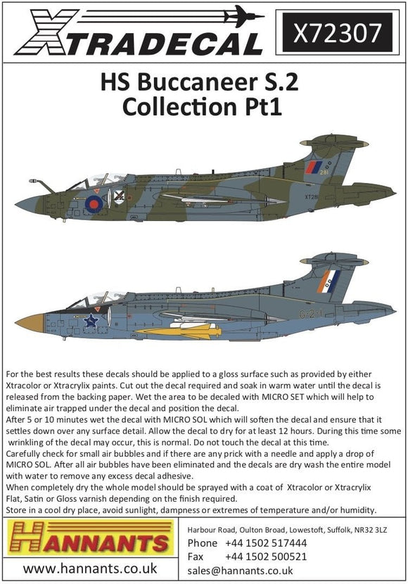Xtradecal X72307 1/72 Blackburn Buccaneer S.2 Collection Part.1 Model Decals - SGS Model Store