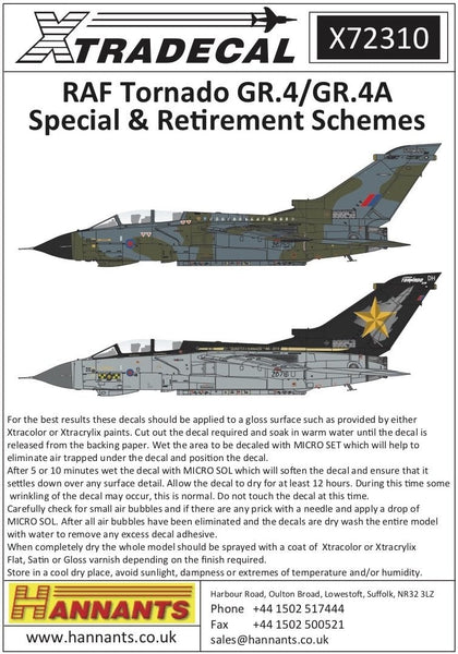 Xtradecal X72310 1/72 RAF Panavia Tornado GR.4/GR.4A Model Decals - SGS Model Store