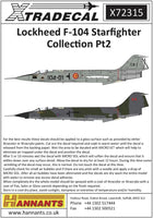 Xtradecal X72315 1/72 Lockheed F-104 Starfighter Collection Pt2 Model Decals