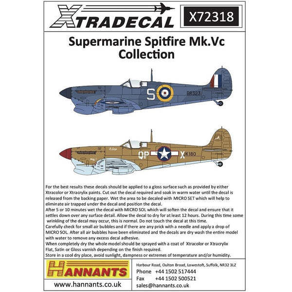 Xtradecal X72318 1/72 Supermarine Spitfire Mk.Vc Overseas Users