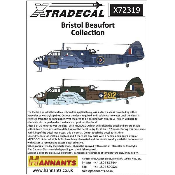 Xtradecal X72319 1/72 Bristol Beaufort Collection