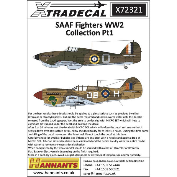 Xtradecal X72321 1/72 SAAF Fighters WW2 Collection Pt1