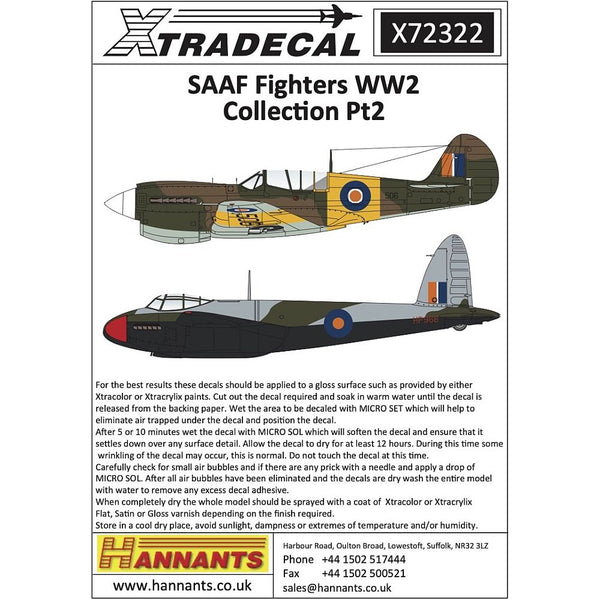 Xtradecal X72322 1/72 SAAF Fighters WW2 Collection Pt2