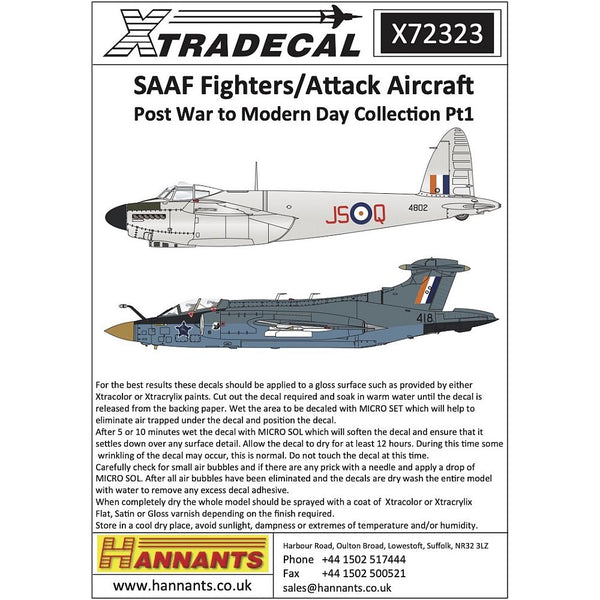 Xtradecal X72323 1/72 SAAF Fighters/Attack Aircraft Post War - Modern Day Pt1