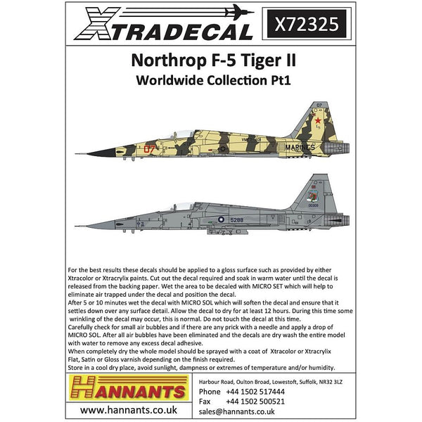 Xtradecal X72325 Northrop F-5 Tiger II Worldwide Collection Pt1 1/72