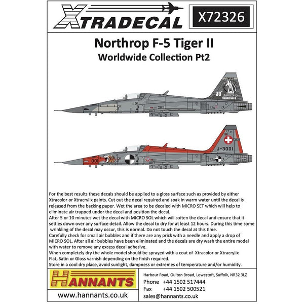 Xtradecal X72326 Northrop F-5 Tiger II Worldwide Collection Pt2 1/72