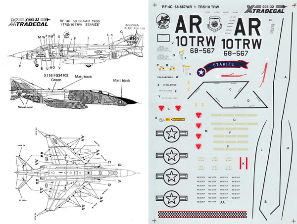 Xtradecal X32003 1/32 McDonnell RF-4C Phantom Model Decals - SGS Model Store