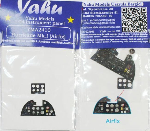 Yahu Models YMA2410 1/24 Hurricane Mk.I Instrument Panel for Airfix