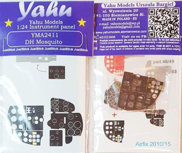Yahu Models YMA2411 1/24 de Havilland Mosquito NF.II / FB VI Instrument Panel for Airfix
