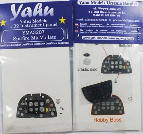 Yahu Models YMA3207 1/32 Spitfire Mk.Vb late Instrument Panel for Hobby Boss