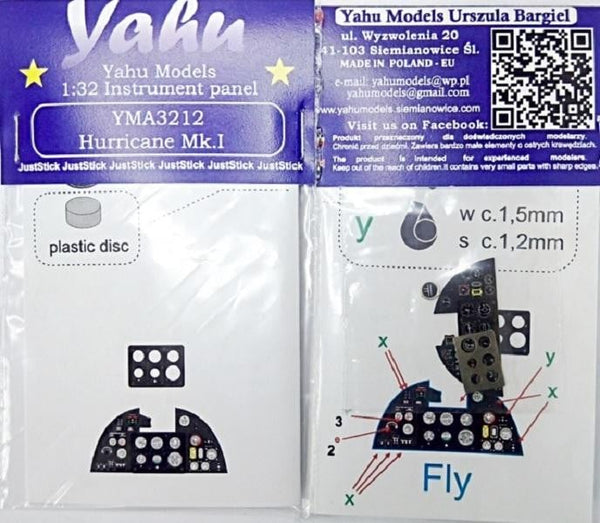 Yahu Models YMA3212 1/32 Hurricane Mk.I Instrument Panel for Fly - SGS Model Store