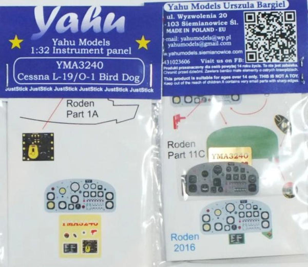 Yahu Models YMA3240 1/32 Cessna L-19/O-1 Bird Dog Instrument Panel