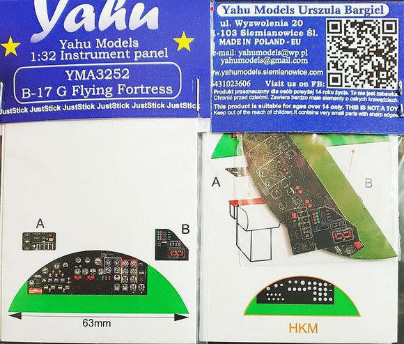 Yahu Models YMA3252 1/32 B-17G Flying Fortress Instrument Panel for HK Models - SGS Model Store