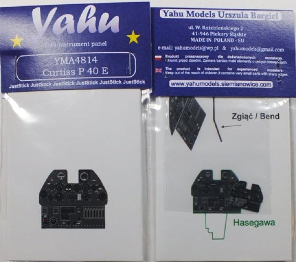 Yahu Models YMA4814 1/48 Curtiss P-40E Instrument Panels for Hasegawa