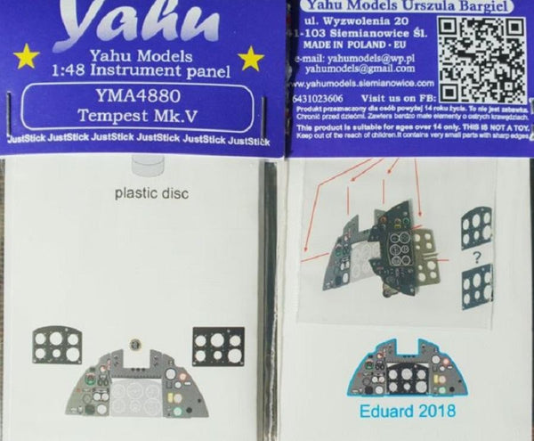 Yahu Models YMA4880 1/48 Hawker Tempest Mk.V Instrument Panel for Eduard - SGS Model Store