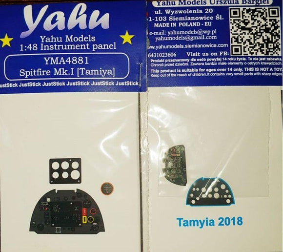 Yahu Models YMA4881 1/48 Spitfire Mk.I Instrument Panel for Tamiya - SGS Model Store